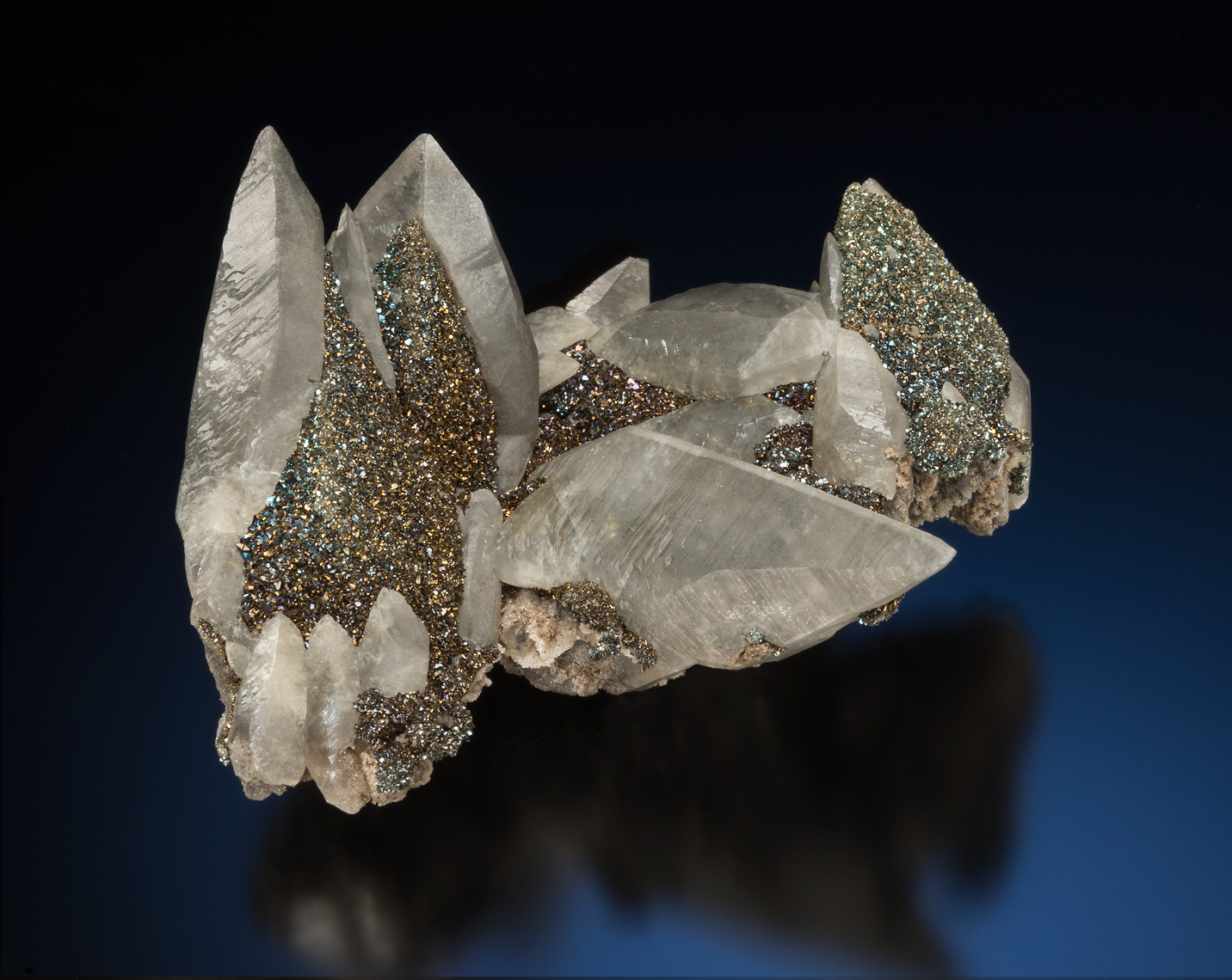 Calcite, Chalcopyrite/Marcasite - Brushy Creek Mine, Viburnum Trend District, Missouri.
